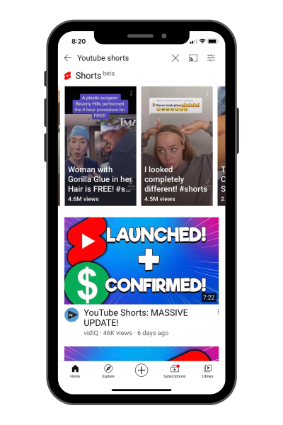 "viewers can find YouTube Shorts by searching for ""YouTube Shorts"" on the YouTube mobile app"