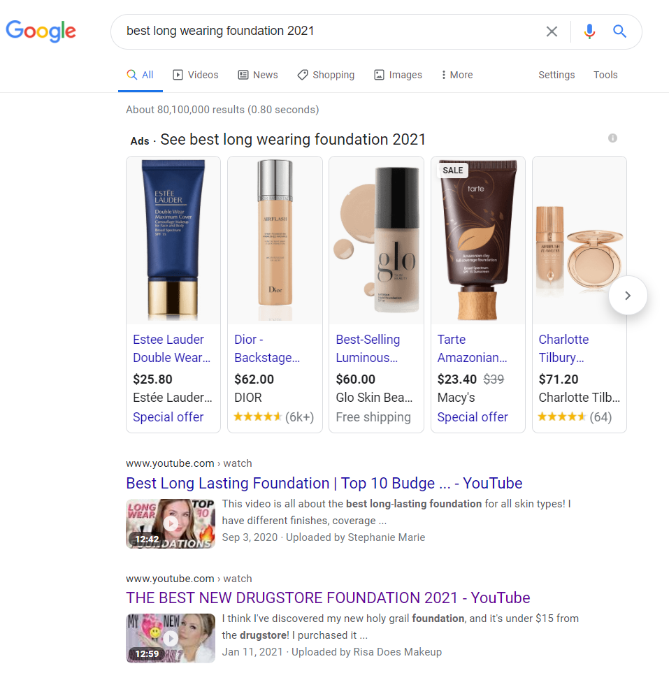 Always cross check your YouTube search keywords with Google - you might be able to get on the front page of the SERP for Google, and get more views & subscribers!