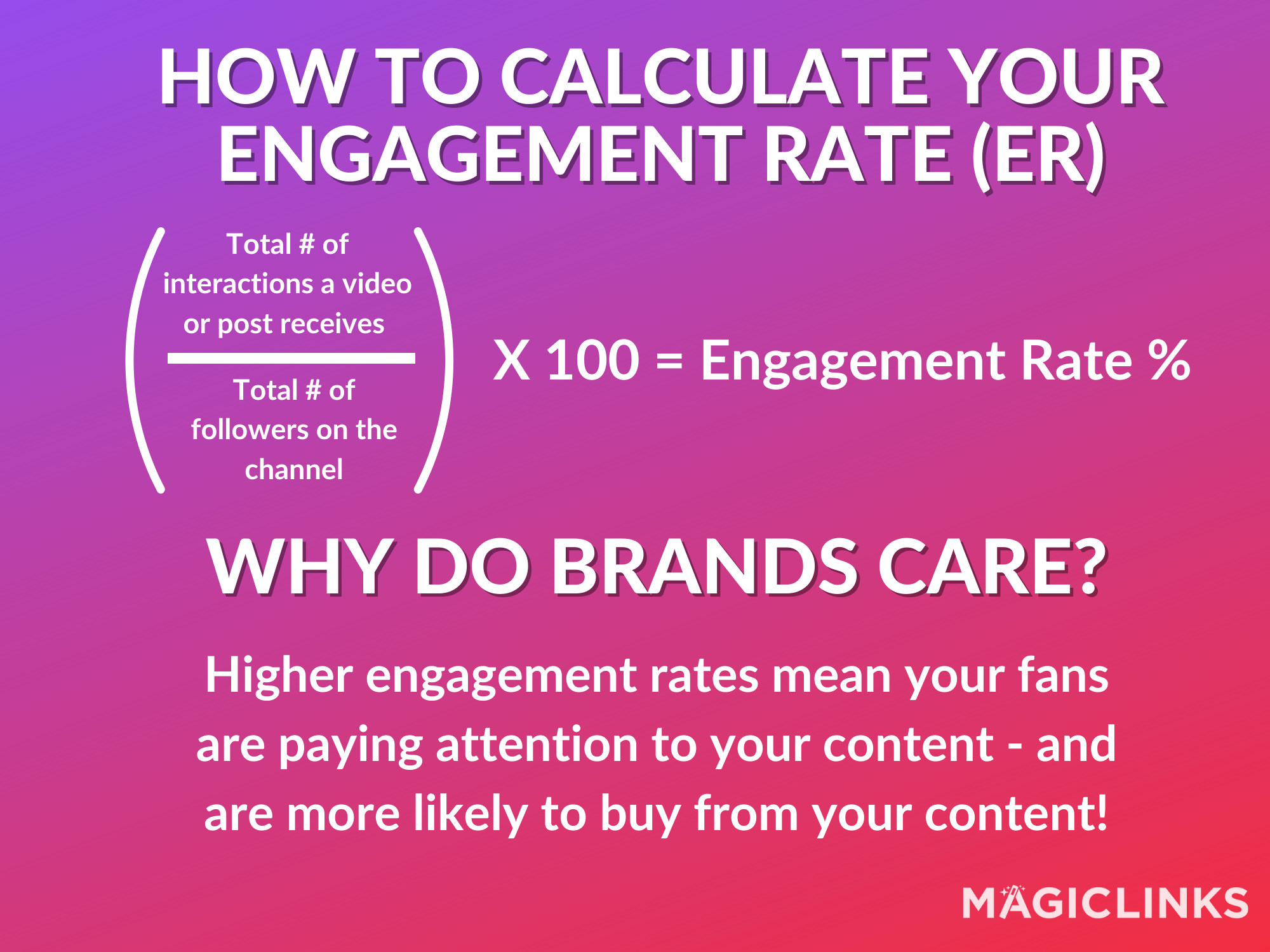 How to calculate your engagement rate: Divide the total # of interactions a post recieves [likes, comments, shares, views] by the number of followers on the channel. Multiply the result by 100 to get your engagement rate, expressed as a percentage.   Why do brands care? Higher engagement rates mean your fans are paying attention to your content - and are more likely to buy from your content!