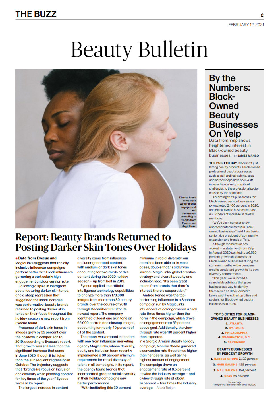MagicLinks x Eyecue Insights diversity feature in WWD's industry newsletter Beauty Inc, featuring influencer Monroe Steele.