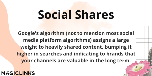 Social Shares: Google's algorithm (not to mention most social media platform algorithms) assigns a large weight to heavily shared content, bumping it higher in searches and indicating to brands that your channels are valuable in the long term.